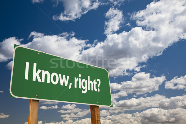 I Know, Right? Green Road Sign Stock photo © feverpitch