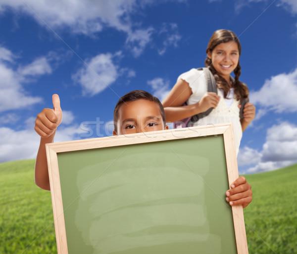 Stockfoto: Studenten · veld · krijt · boord