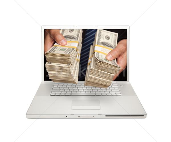 Foto stock: Hombre · dinero · portátil · Screen · aislado · blanco