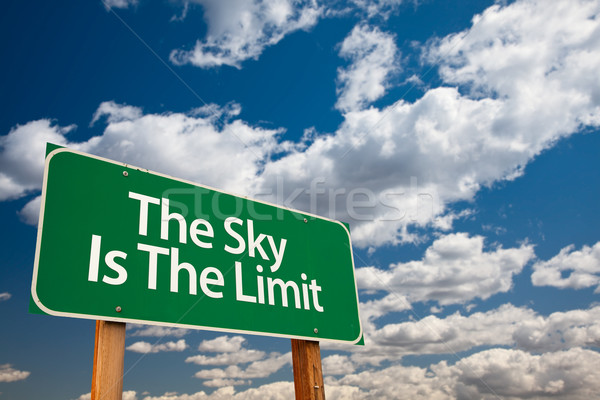 The Sky Is The Limit Green Road Sign Stock photo © feverpitch