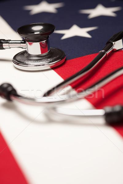 Stock fotó: Sztetoszkóp · amerikai · zászló · szelektív · fókusz · orvos · egészség · gyógyszer