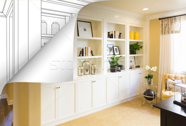 Built-in Shelves and Cabinets Photo with Page Corner Flipping to Stock photo © feverpitch