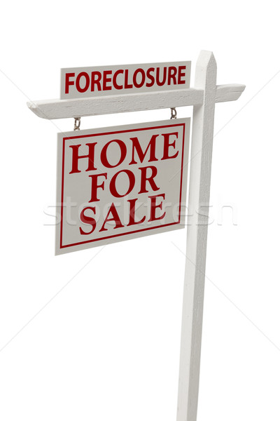 Foreclosure For Sale Real Estate Sign on White with Clipping Stock photo © feverpitch