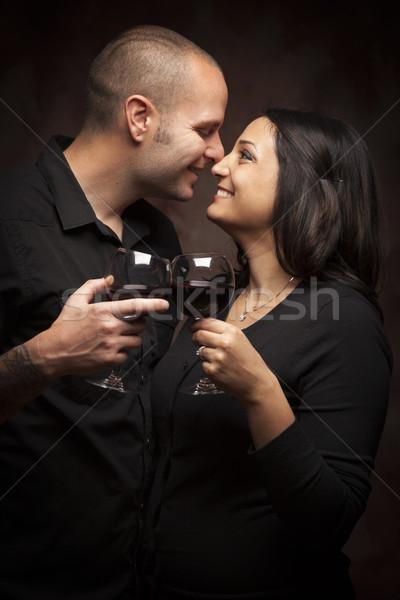幸せ 混血 カップル ワイングラス ストックフォト © feverpitch