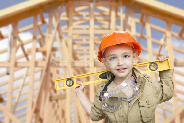 Child Boy Dressed Up as Handyman in Front of House Framing Stock photo © feverpitch