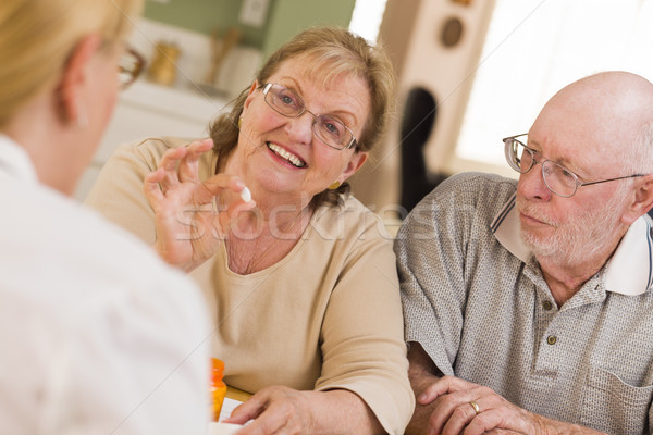 Doctor or Nurse Explaining Prescription Medicine to Senior Coupl Stock photo © feverpitch