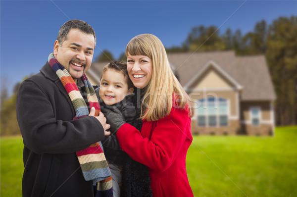 Stockfoto: Gelukkig · halfbloed · familie · huis · jonge · mooie
