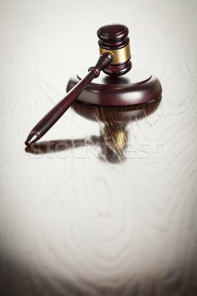 Fából készült kalapács absztrakt tükröződő asztal sötét Stock fotó © feverpitch