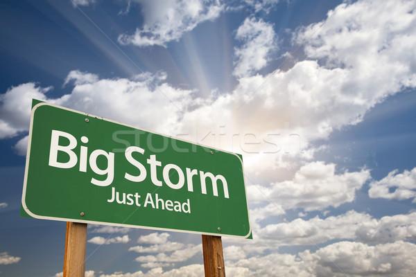 Big Storm Green Road Sign Stock photo © feverpitch