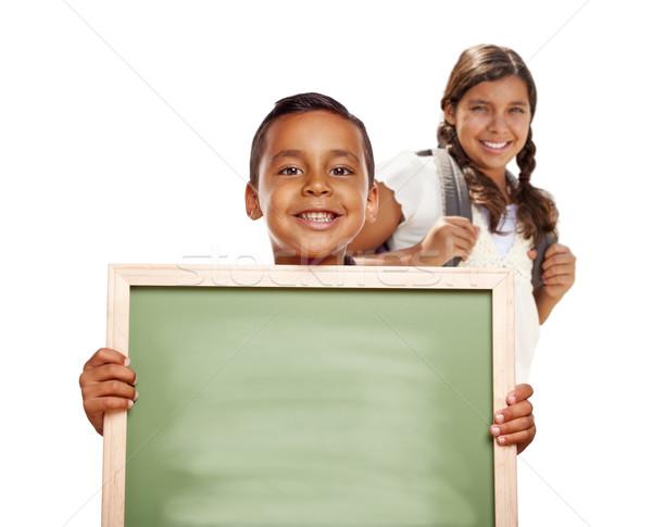 Spanyol fiú lány tart kréta tábla Stock fotó © feverpitch