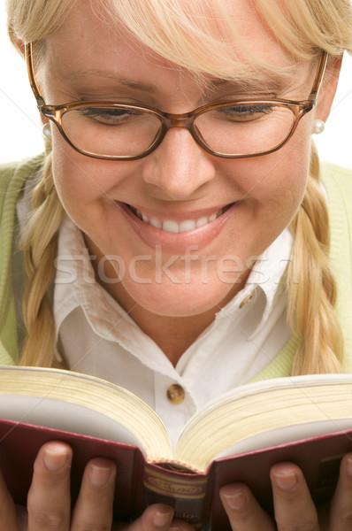 Női könyv izolált fehér diák oktatás Stock fotó © feverpitch