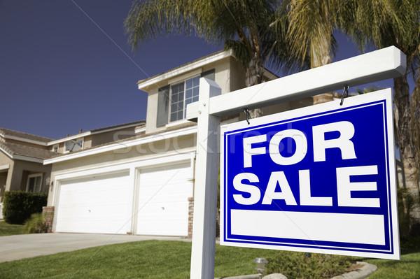 Zdjęcia stock: Sprzedaży · nieruchomości · podpisania · domu · niebo · domu