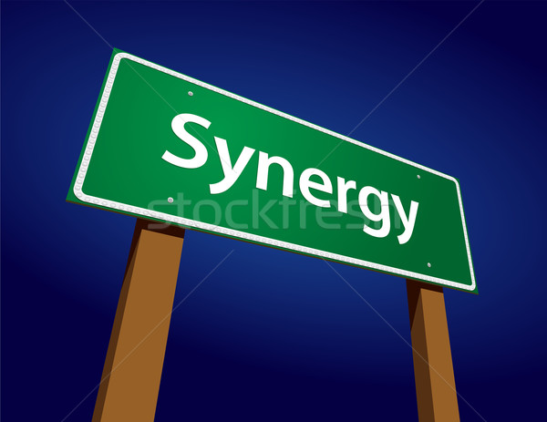 Synergy Green Road Sign Illustration Stock photo © feverpitch