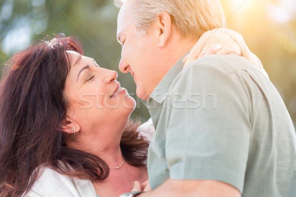 Orta yaşlı çift tadını çıkarmak romantik yavaş dans Stok fotoğraf © feverpitch