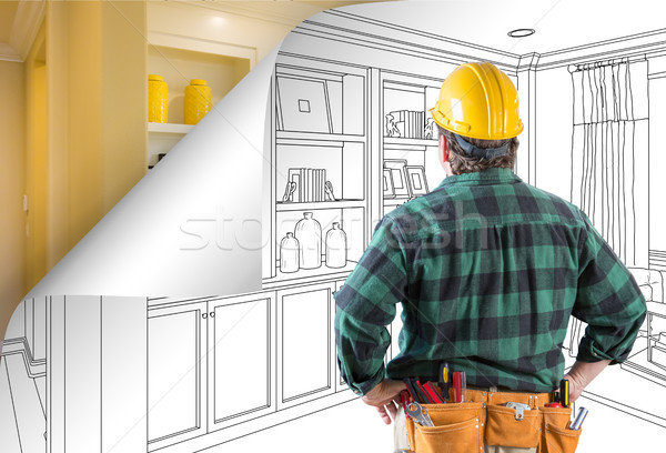 Contractor Facing Built-in Shelves and Cabinets Drawing with Pag Stock photo © feverpitch