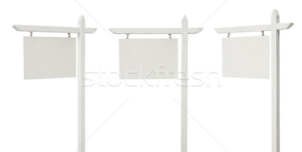 Set of 3 Different Angled Blank Real Estate Signs on White Stock photo © feverpitch