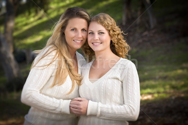 Pretty Mother and Daughter Portrait in Park Stock photo © feverpitch