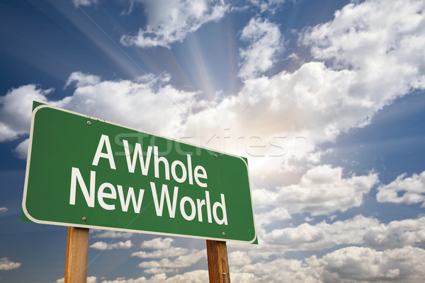 Stockfoto: Geheel · nieuwe · wereld · groene · verkeersbord · dramatisch