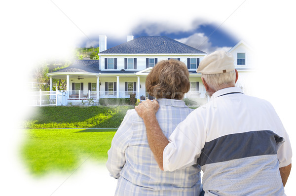 Daydreaming Senior Couple Over Custom Home Photo Thought Bubble Stock photo © feverpitch