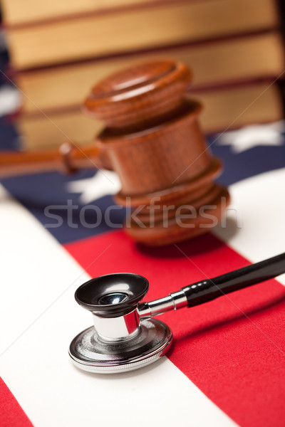 Kalapács sztetoszkóp könyvek zászló amerikai zászló szelektív fókusz Stock fotó © feverpitch