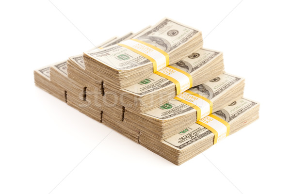 Stacks of One Hundred Dollar Bills Isolated Stock photo © feverpitch