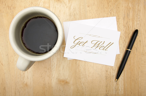 Get Well Note Card, Pen and Coffee Stock photo © feverpitch