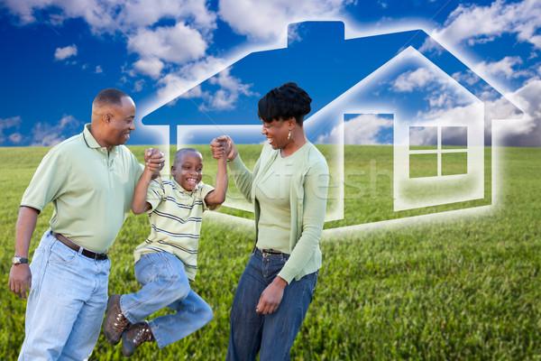 Foto stock: Família · campo · de · grama · nuvens · céu · casa · ícone