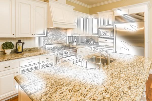 кухне дизайна рисунок фото комбинация Сток-фото © feverpitch