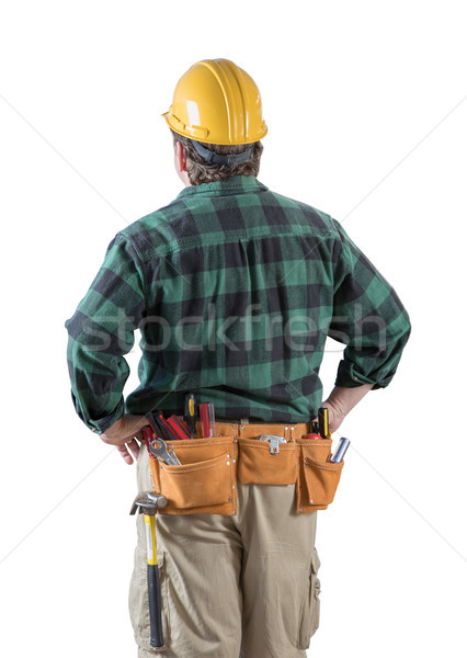 Male Contractor with Hard Hat and Tool Belt Looking Away Isolate Stock photo © feverpitch