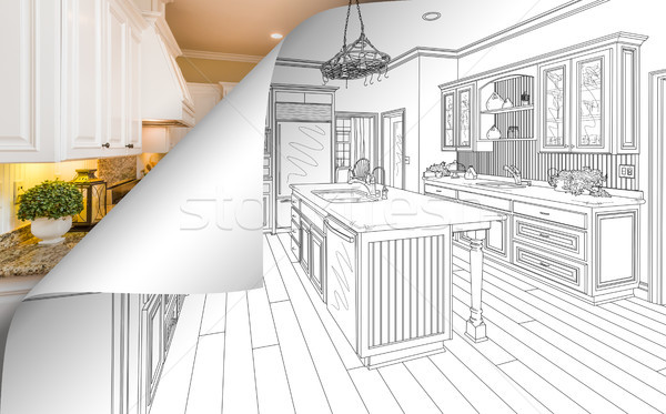 Kitchen Drawing Page Corner Flipping with Photo Behind Stock photo © feverpitch