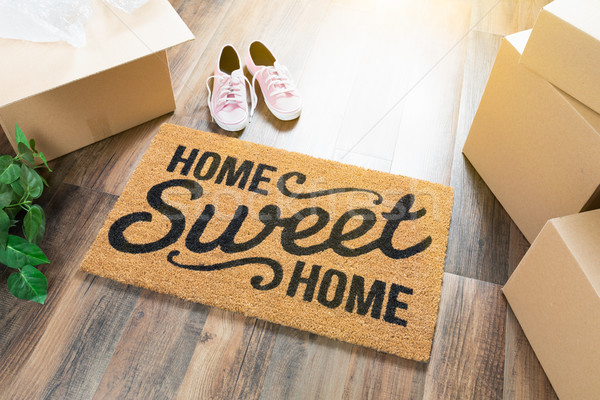 Home Sweet Home Welcome Mat, Moving Boxes, Pink Shoes and Plant  Stock photo © feverpitch