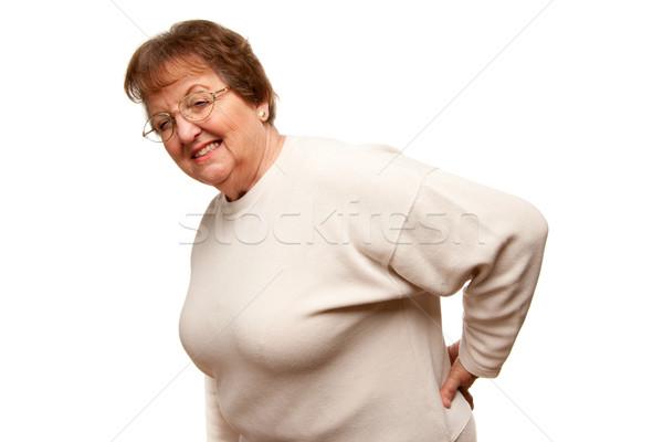 старший женщину боль в спине белый изолированный женщины Сток-фото © feverpitch