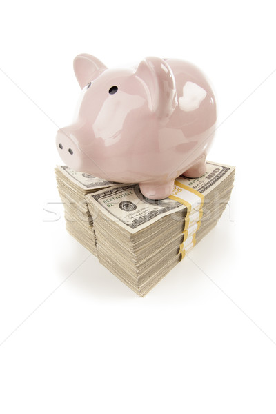 Pink Piggy Bank on Stacks of Money on White Stock photo © feverpitch
