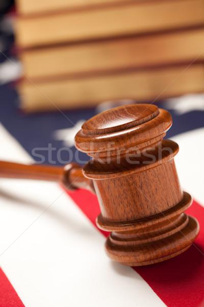 Tokmak kitaplar bayrak amerikan bayrağı seçici odak mavi Stok fotoğraf © feverpitch