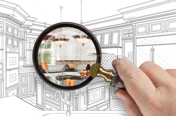 Hand vergrootglas gewoonte keuken ontwerp Stockfoto © feverpitch