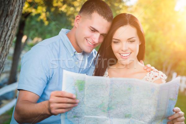 幸せ 混血 カップル 見える 地図 外 ストックフォト © feverpitch