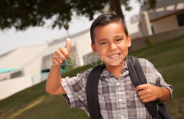 Szczęśliwy młodych hiszpańskie chłopca gotowy szkoły Zdjęcia stock © feverpitch