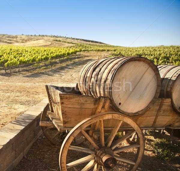 Szőlő szőlőskert öreg hordó fuvar vagon Stock fotó © feverpitch
