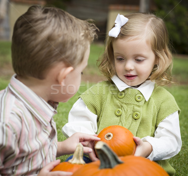 Stock photo: Cute Young Brother and Sister At the Pumpkin Patch