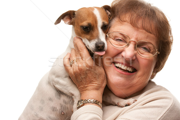 Happy Attractive Senior Woman with Puppy on White Stock photo © feverpitch