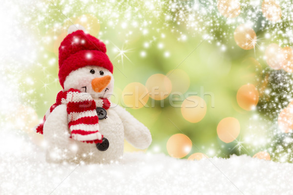 Cute bonhomme de neige résumé neige lumière vert Photo stock © feverpitch