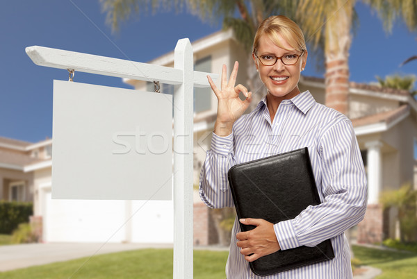 Real Estate Agent in Front of Blank Sign and House Stock photo © feverpitch