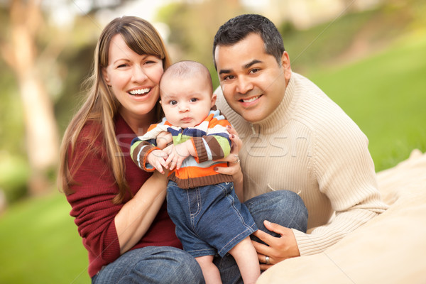 Happy Mixed Race Family Posing for A Portrait Stock photo © feverpitch