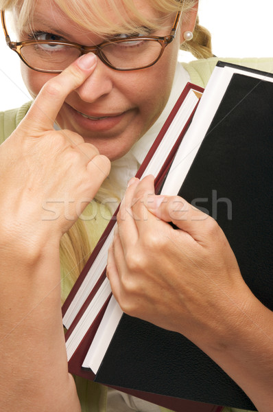 Aranyos diák hordoz könyvek izolált fehér Stock fotó © feverpitch