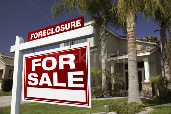 Foreclosure For Sale Real Estate Sign and House Stock photo © feverpitch