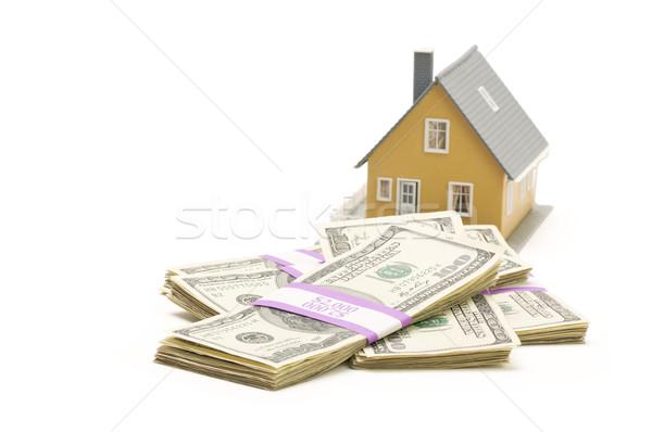 Photo stock: Maison · argent · isolé · blanche · maison · trésorerie