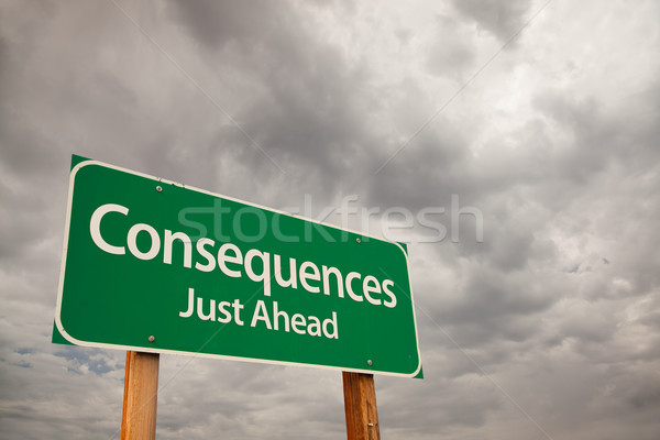 Consequences Green Road Sign Over Storm Clouds Stock photo © feverpitch