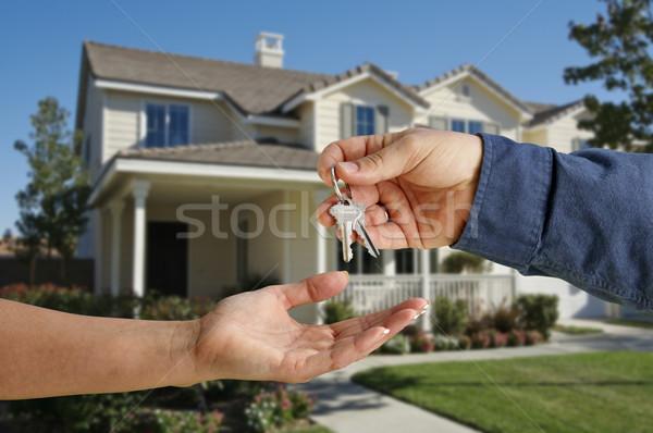 дома ключами новый дом красивой здании домой Сток-фото © feverpitch