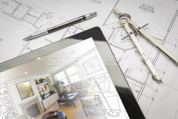 Computer Tablet Showing Room Illustration On House Plans, Pencil Stock photo © feverpitch
