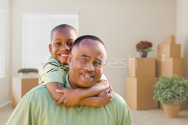 Afro-amerikaanse vader zoon kamer gelukkig muur Stockfoto © feverpitch